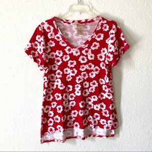 Philosophy Red Floral Cotton Top Small